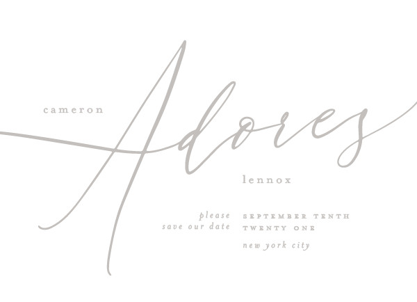 'I Adore You (Fog)' Silver Save the Dates