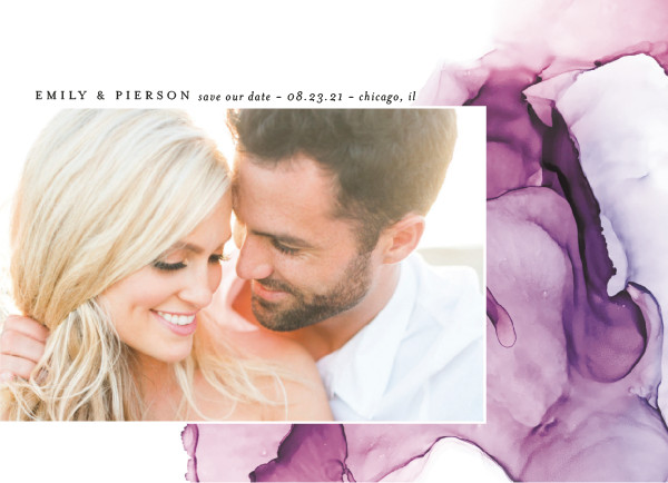 'Dreamy Watercolors (Lavender)' Save the Date Card