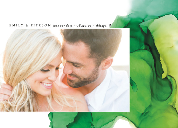 'Dreamy Watercolors (Grass)' Wedding Save the Date