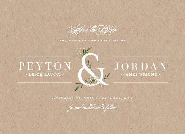 'Adorned Ampersand (Kraft)' Save the Dates