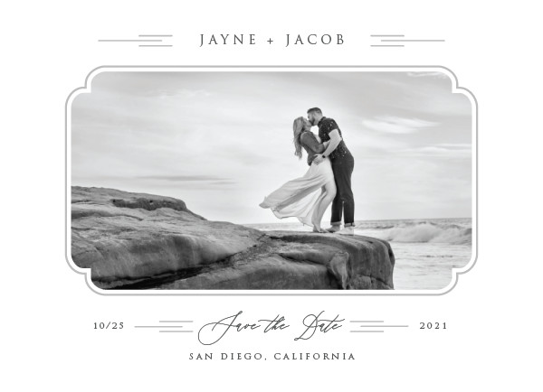 'Windswept Deco (Dove Gray)' Silver Save the Dates