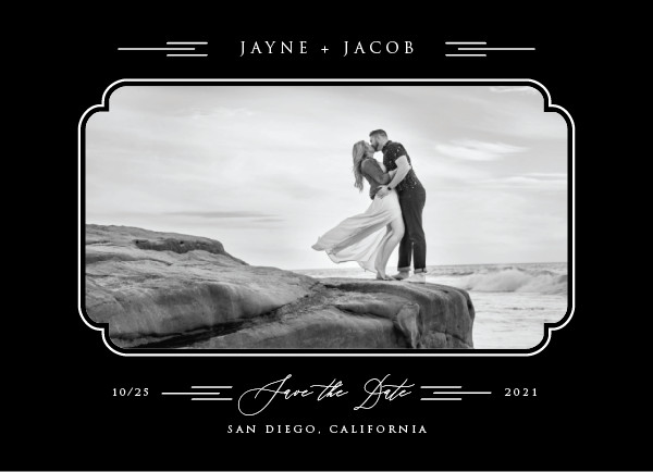 'Windswept Deco (Noir)' Wedding Save the Date