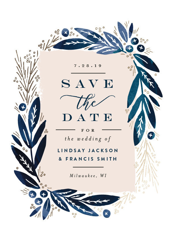 'Leaf Frame (Midnight Blue)' Blue Save the Dates