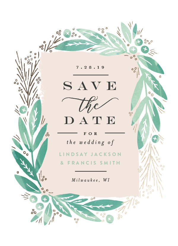 'Leaf Frame (Mint)' Wedding Save the Date