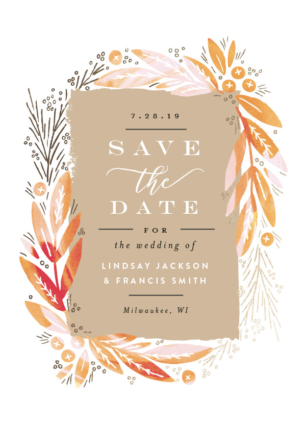Save The Date Magnets  Save The Date Magnet  Gold Nature Design  Simple Wedding  Botanical Wedding  Autumn Theme