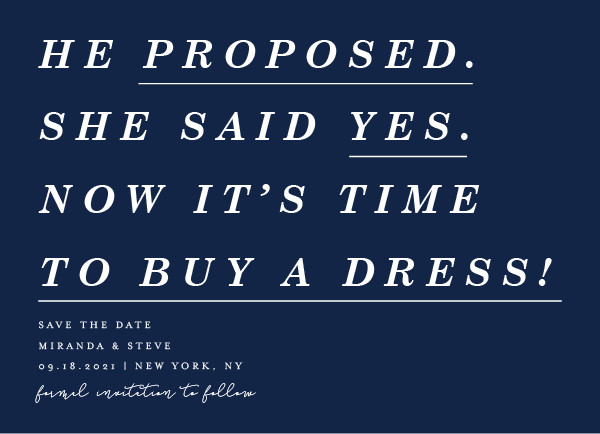 'Poem (Navy)' Funny Save the Dates