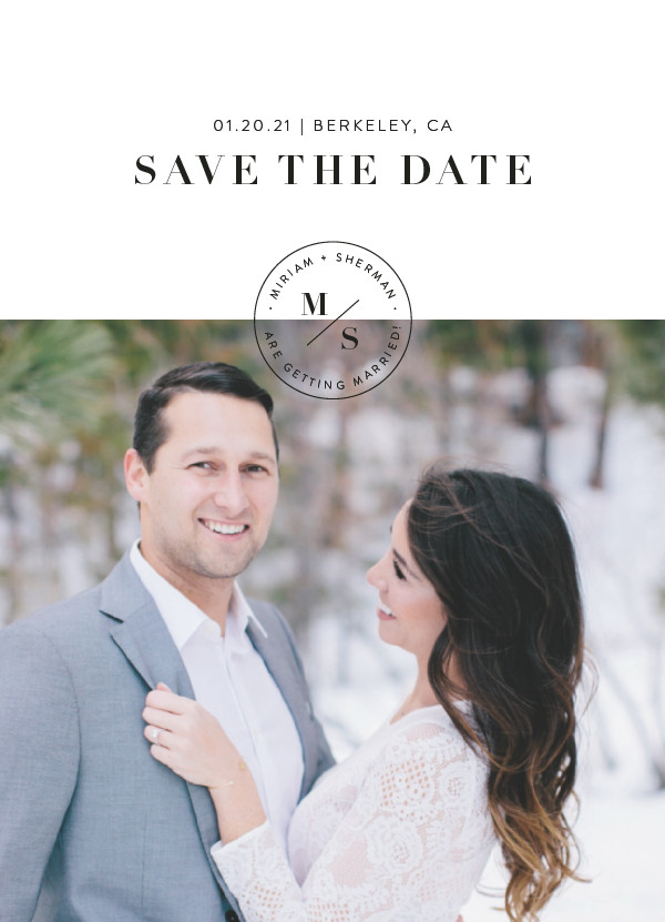 'Simple Stamp (Ivory)' Save the Dates