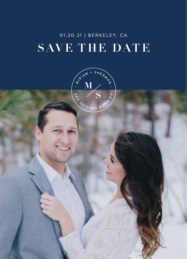 'Simple Stamp (Navy)' Save the Date Card