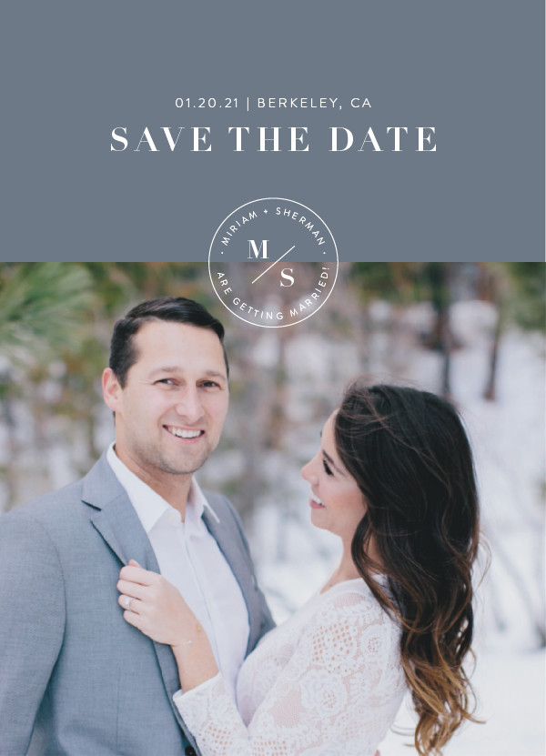 'Simple Stamp (Pebble)' Silver Save the Dates
