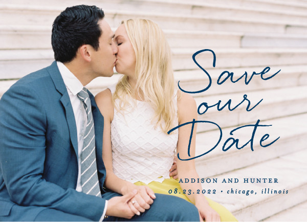 'Scripted Note (Navy)' Save the Date Card