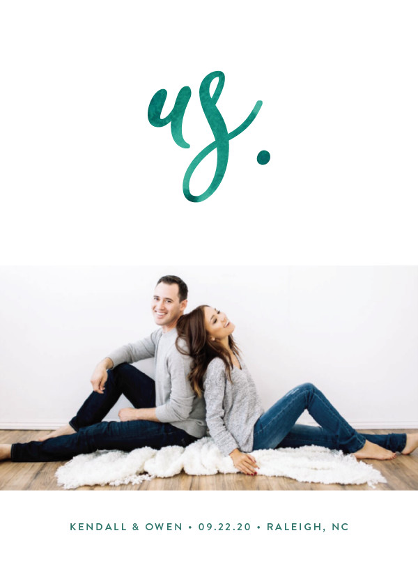 'Simply Us (Forest)' Turquoise Save the Dates