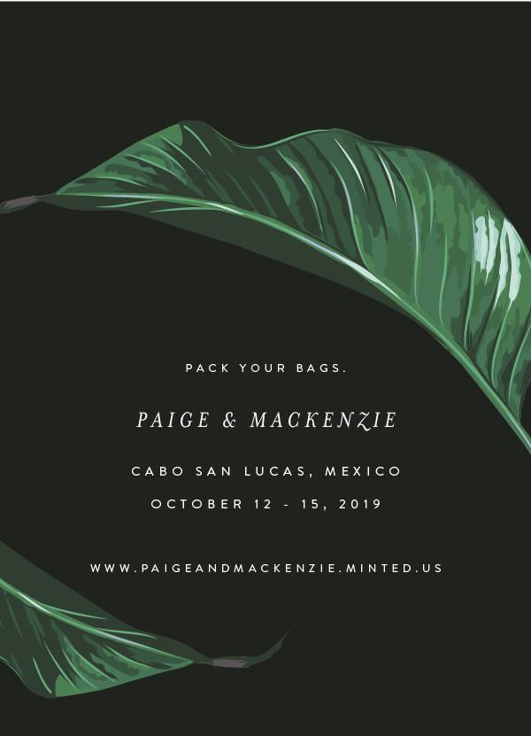 'Mod Palm (Charcoal)' Save-the-Date
