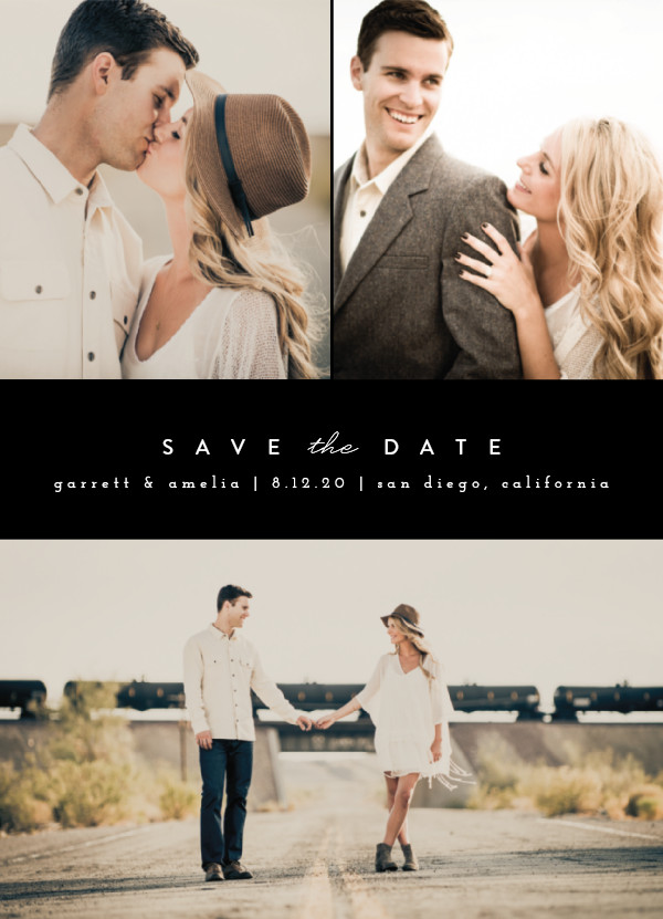 'Simple Date (Tuxedo)' Save the Date Card