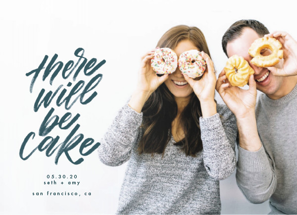 'There Will Be Cake (Navy)' Save-the-Dates