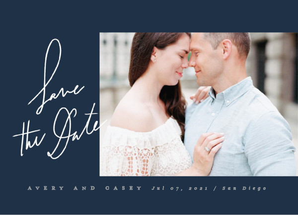 'Scribbled (Navy)' Save the Dates