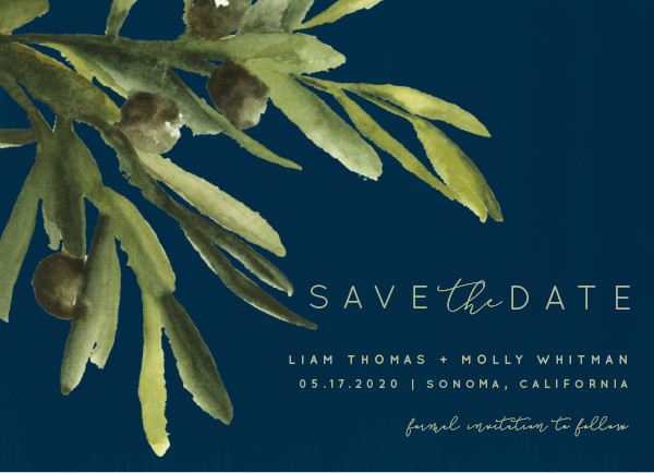 'Olive Bough (Navy)' Save the Date