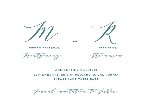 'Elegant Monogram (Tropical)' Save the Date