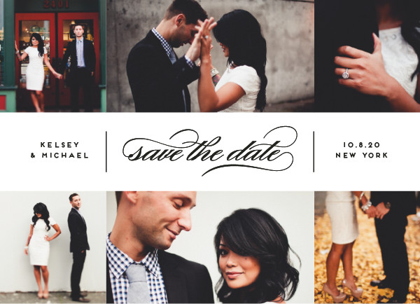 'Centered Script (Noir)' Wedding Save the Date
