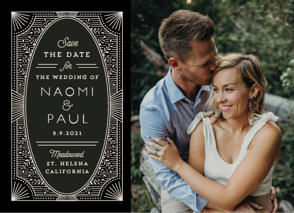 'Elegant Lines (Noir)' Save the Date Card