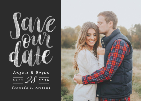 'Brushed Date (Charcoal)' Save-the-Dates