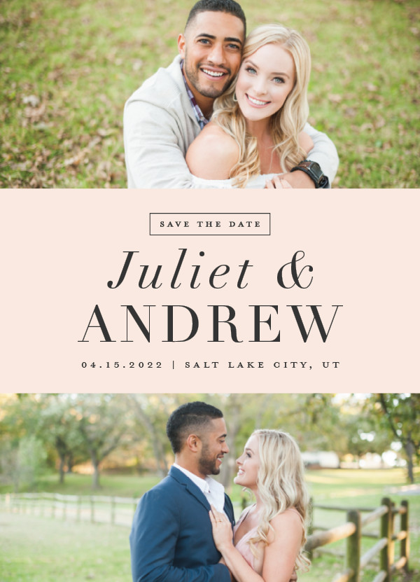 'New Modern (Blush)' Pink Save the Dates