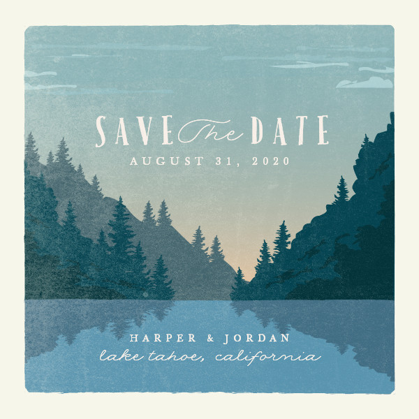 'Vintage Poster (River)' Save the Date