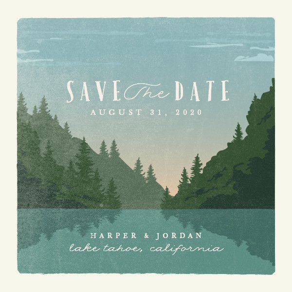 'Vintage Poster (Forest)' Save-the-Date