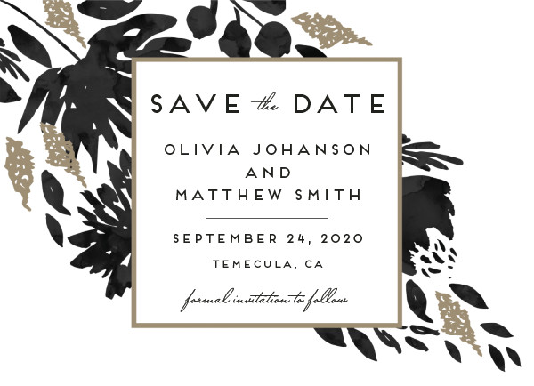 'Watercolor Delight (Ebony)' Save the Date
