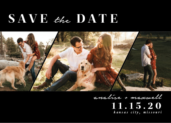 'Diamond Trio (Ebony)' Save-the-Dates