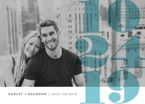 'Numerals (Turquoise)' Save-the-Date