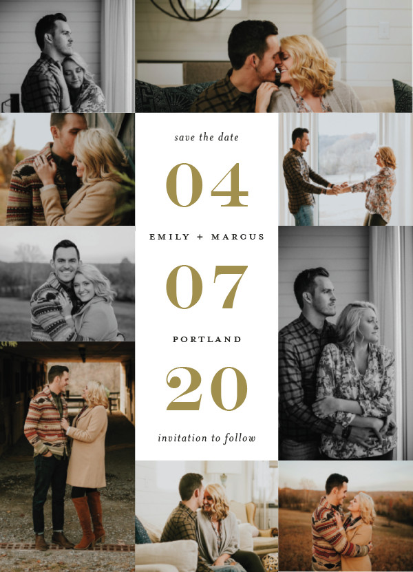'Engagement Story (Golden)' Save the Dates