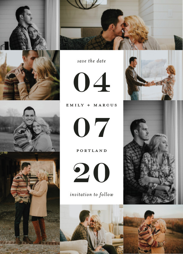 'Engagement Story (Noir)' Multi-photo Save the Dates