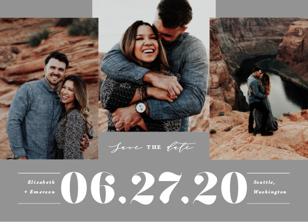 'Bold Trio (Slate)' Save the Date Card