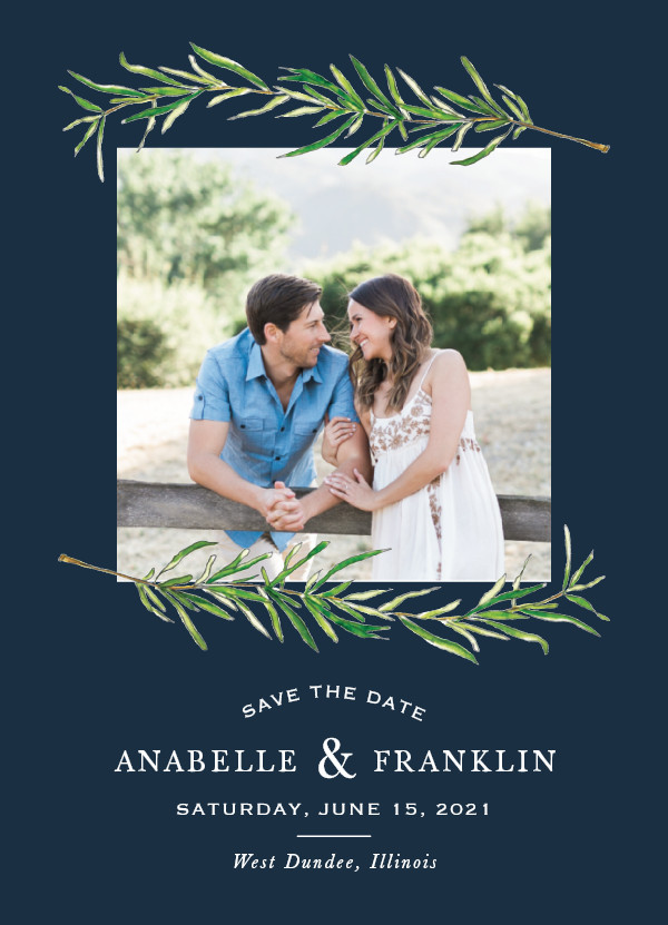 'Simple Sprigs (Navy)' Wedding Save the Date