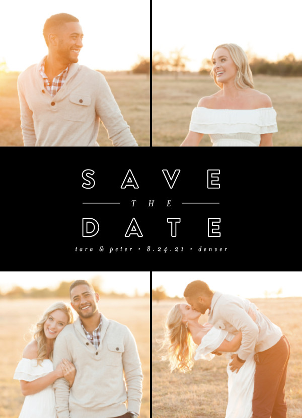 'Golden Love (Tuxedo)' Save the Date Card