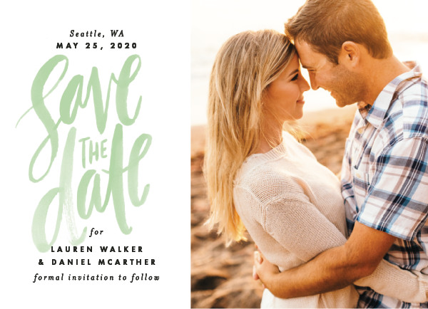 'Watercolor Lettering (Mint)' Save the Dates