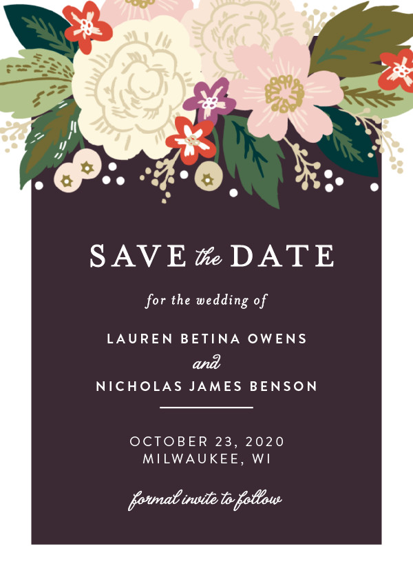 'Classic Floral (Plum Orchard)' Purple Save the Dates