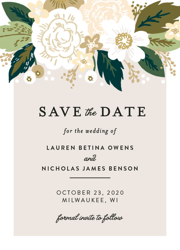 'Classic Floral (Cream)' Wedding Save the Date