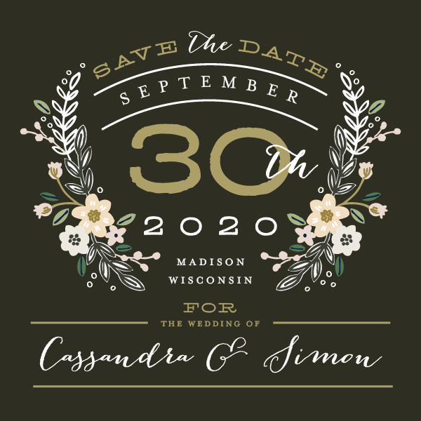 'Wildflower Crest (Charcoal)' Floral Save the Dates