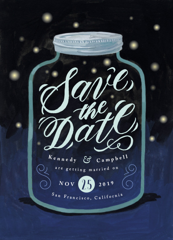 'Firefly Mason Jar (Midnight)' Summer Save the Dates