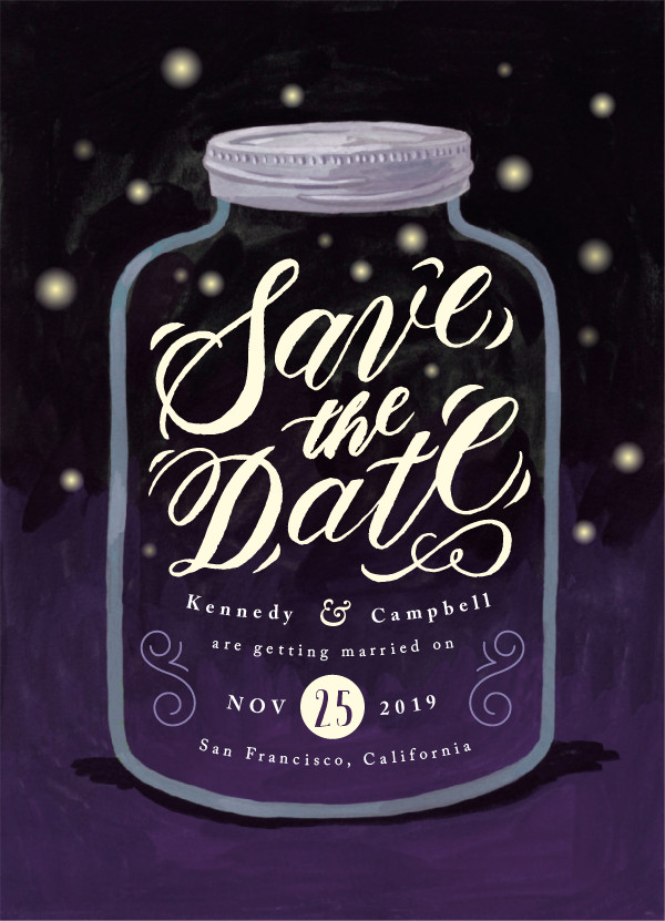 'Firefly Mason Jar (Twilight)' Wedding Save the Date