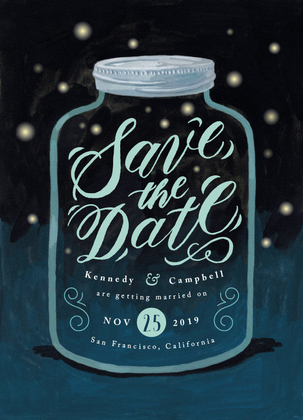 'Firefly Mason Jar (Celestial)' Save-the-Dates