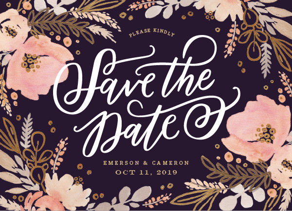 'Floral Vignette (Grape)' Save the Dates