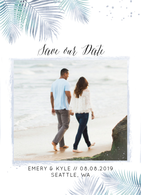 'Sunny Wedding (Navy)' Tropical Save the Dates