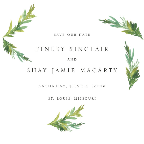 'Simple Pine Branches (Vanilla)' Save-the-Dates