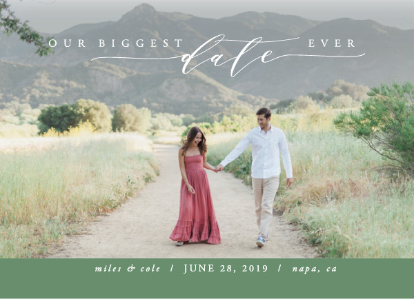 'Biggest Date Ever (Rosemary Green)' Wedding Save the Date