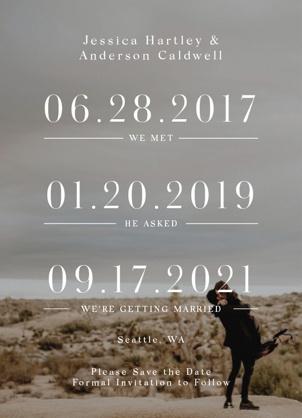 'Timing (Ivory)' Wedding Save the Date