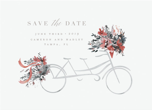 'Bicycle For Two (Warm Grey)' Save the Date Card