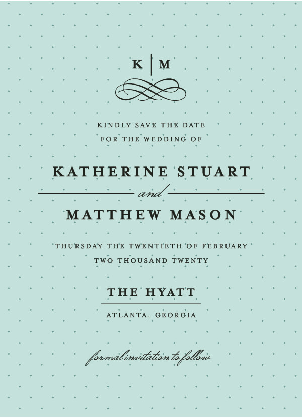 'A Glamorous Affair (Mint)' Turquoise Save the Dates