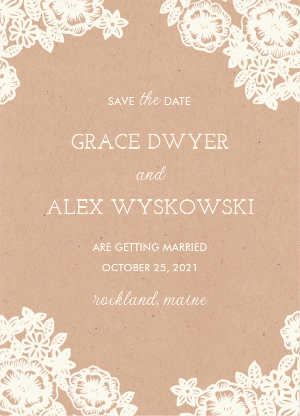 'Lace And Kraft (Kraft)' Wedding Save the Date